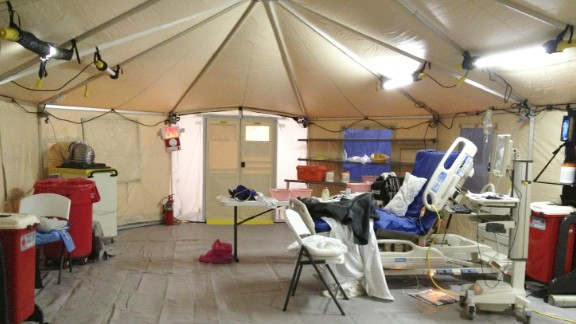 Kaci Hickox, a nurse under mandatory quarantine for Ebola monitoring in New Jersey, sent CNN this image of the tent where she is being isolated in a New Jersey Hospital.
