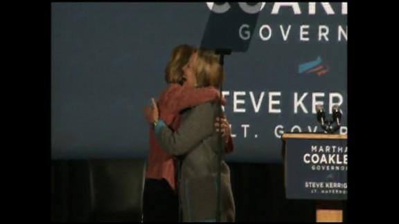 Hillary Clinton embraces Massachusetts gubanatorial candidate Martha Coakley