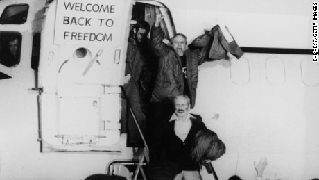 The remaining US hostages are released on January 20, 1980, and flown to Wiesbaden Air Base in Germany. The terms of their release included the unfreezing of Iranian assets.
