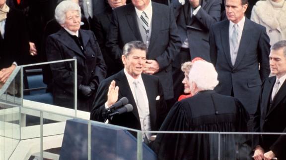 U.S. President Ronald Reagan is sworn into office on January 20, 1981. President Carter