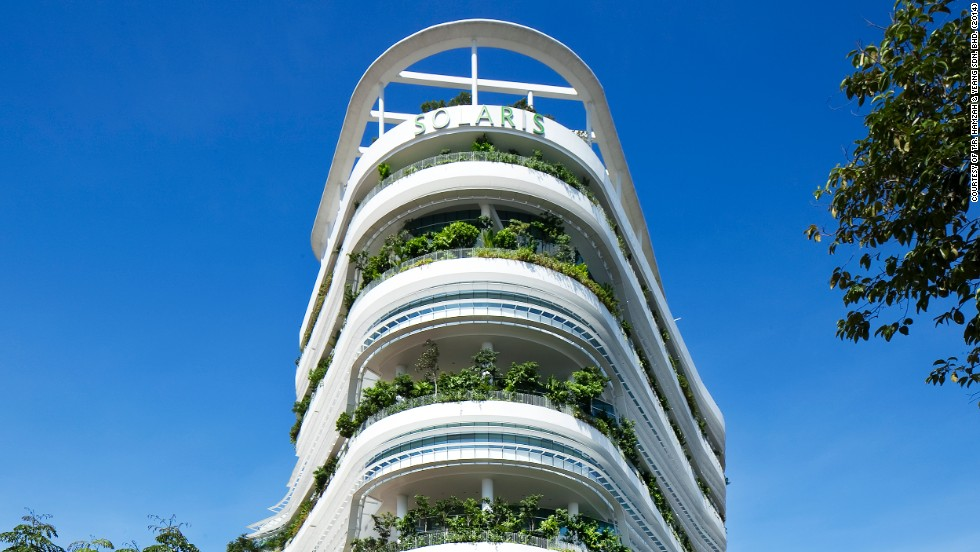 Singapore is considered a world model of a biophilic city. One example of the city's innovations is the Solaris building, pictured, which incorporates open interactive spaces, roof gardens and sky terraces.
