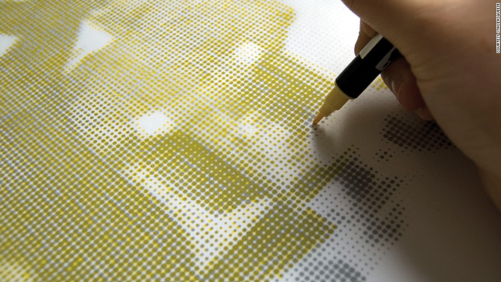 They then create layers of tiny dots in each of the CMYK process colors -- cyan, magenta, yellow and black. The smaller the dots, the more convincing the final illusion will be.