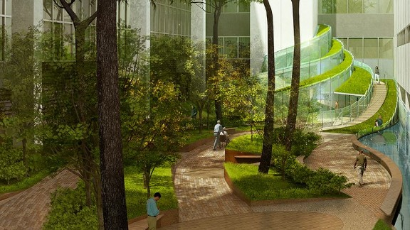Global architecture firm HOK came up with this design for a proposed healing garden at Walter Reed National Military Medical Center in Maryland in the U.S.. They say that planted earth forms and a water wall would provide a series of public and private spaces that help to relax the treatment environment.