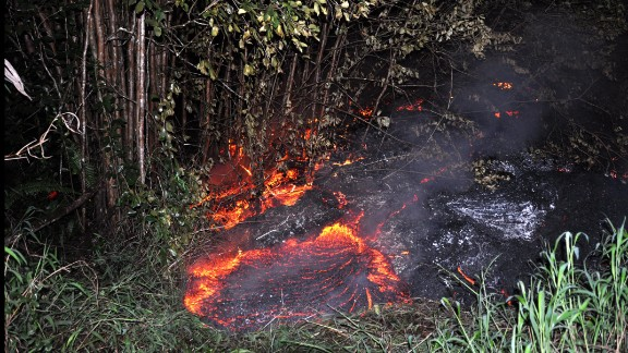 Pictured here on Tuesday morning, October 28, lava had crossed into two privately owned properties.