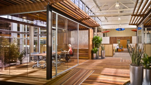 Biophilic design has experienced a boom in recent years, with design firms responding to clients keen to incorporate the human benefits of nature into the workplace. This is a photograph of the interior of Clif Bar and Company's HQ in California, designed by ZGF Architects LLP.