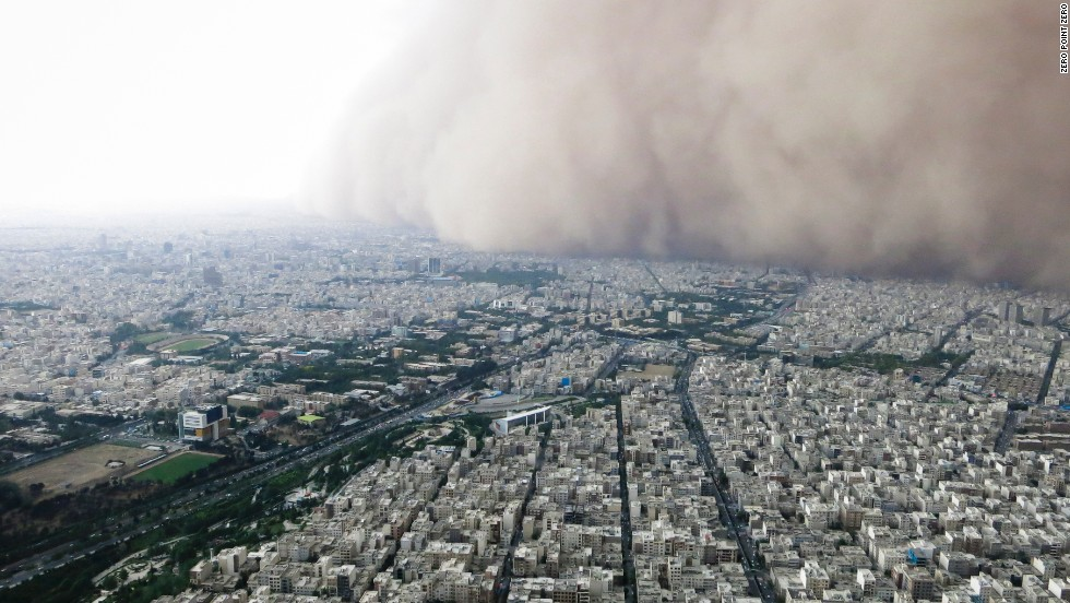 A intense sandstorm engulfs Tehran, seen from the top of the Milad Tower.