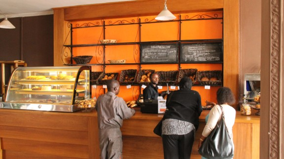 """""""Au Bon Pain,"""" which means """"where the bread is good,"""" opened its doors in Goma, DRC, in May 2014. Owner Vanessa Jados, who employs approximately 10 people, says the bakery is the first in town to provide fresh bread and croissants."""