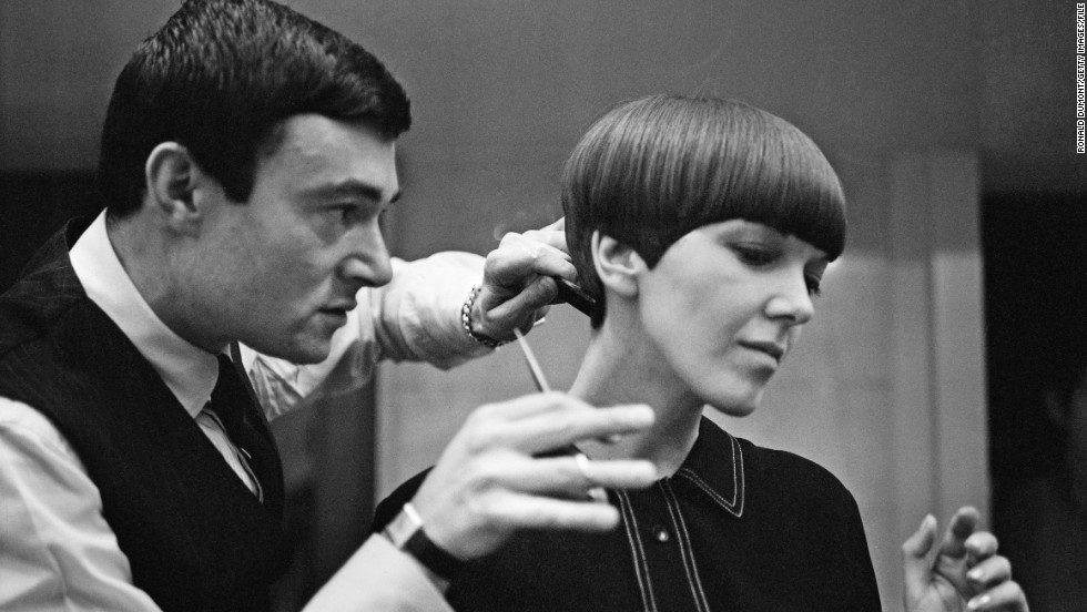 Clothes designer Mary Quant, one of the leading figures of the British fashion scene in the 1960's, having her hair cut by another fashion icon -- hairdresser Vidal Sassoon.