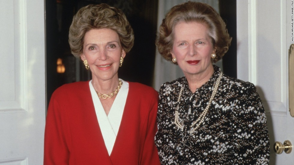 Big hair and big shoulders were in vogue in 1986, in this image of then-U.S. First Lady Nancy Reagan and former British Prime Minister Margaret Thatcher.