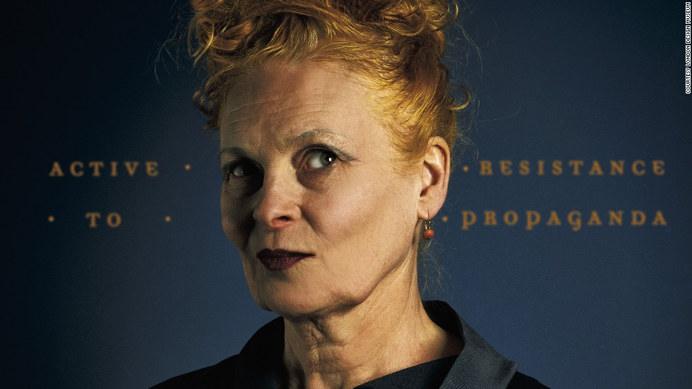 "British designer Vivienne Westwood made a name for herself in the 1970s with her punk style. She contributed one of her long, flowing dresses and cape to the exhibition, saying: ""All my outfits are powerful even if they are pretty, or silly, or butch. They all give you power because you are able to play with your identity."""