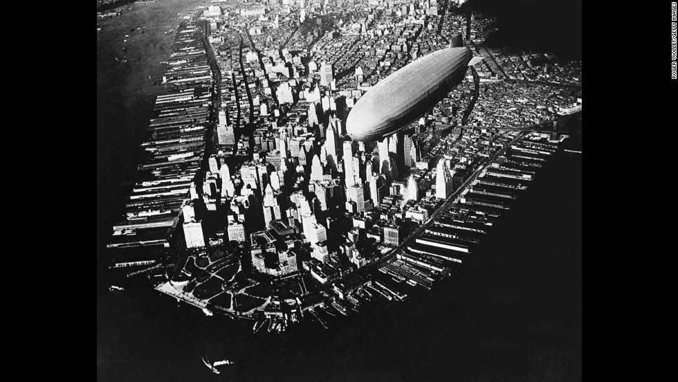 This aerial photograph from 1910 shows a Zeppelin dirigible flying over Manhattan. Aerial photography has existed since the mid-1800s, giving people a unique perspective of their planet.