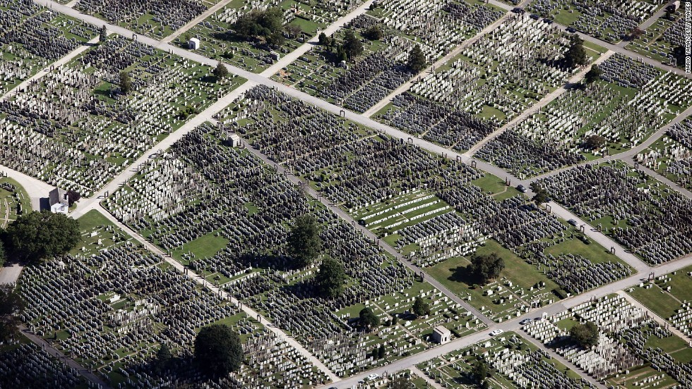 This aerial image taken in 2009 shows a cemetery in the Queens borough of New York City.