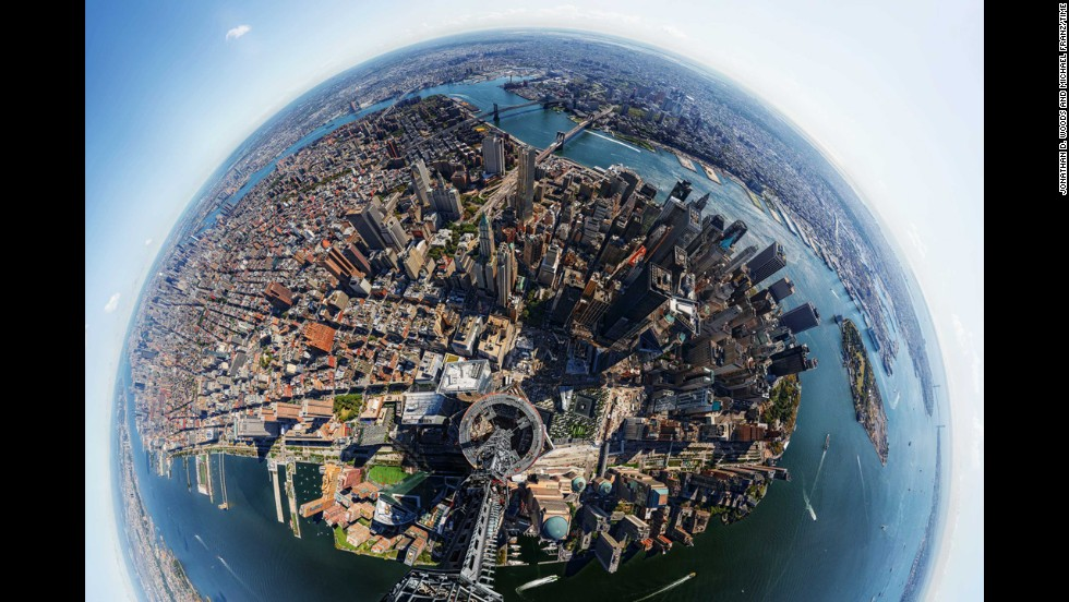 "In 2013, <a href=""http://time.com/world-trade-center/"" target=""_blank"">Time magazine created this 360-degree panoramic</a> view from the top of One World Trade Center, the tallest building in the Western hemisphere."