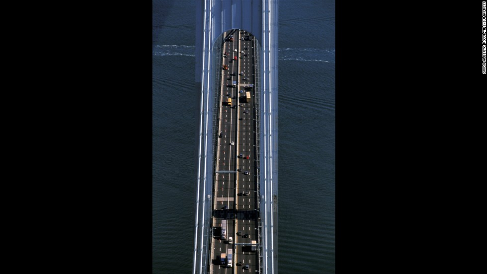 The double-decker Verrazano Bridge, as seen from above in this 2013 photo, connects the New York boroughs of Staten Island and Brooklyn.