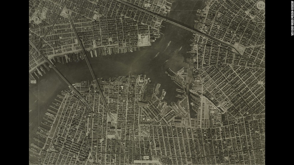 "In the days before Google Maps, cities relied on aerial photos to help create street maps (back then they were on paper, kids). This aerial photo of New York was taken in <a href=""http://digitalgallery.nypl.org/nypldigital/dgkeysearchresult.cfm?parent_id=855142"" target=""_blank"">1924 by the city's Bureau of Engineering</a>."