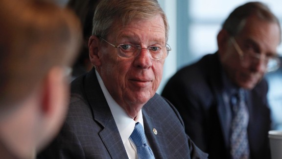 "Senator John ""Johnny"" Isakson, a Republican from Georgia, center, speaks during an interview in Washington D.C., U.S. on Thursday, Sept. 12, 2013. Isakson said the nomination of Representative Mel Watt, Democrat from North Carolina, to oversee the Federal Housing Finance Agency, the regulator for the U.S.-owned mortgage financiers, was ""in trouble"". Photographer: Julia Schmalz/Bloomberg/Getty Images"