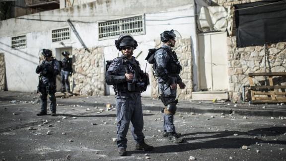 Israeli police patrol Jerusalem during clashes on October 30.