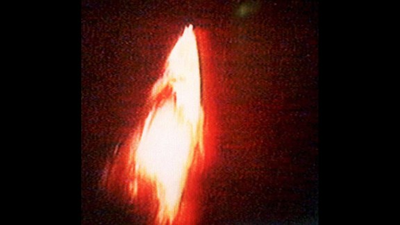 This photo taken from Chinese television in January 1995 shows a Chinese Long March rocket exploding above its launchpad, killing six people and injuring 23 others.