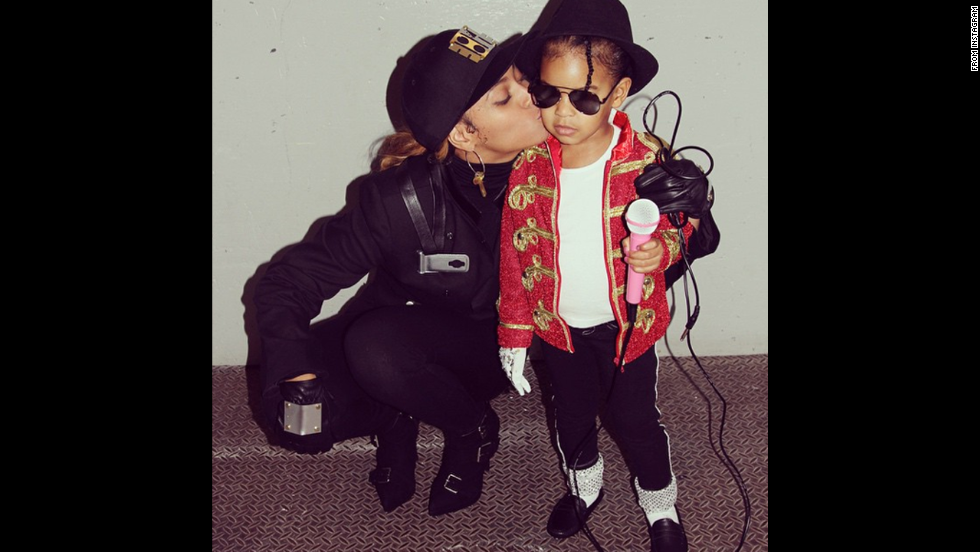 "<a href=""http://instagram.com/p/u1RCCovw-U/?modal=true"" target=""_blank"">Beyonce</a> and Blue Ivy went as Janet and Michael Jackson."