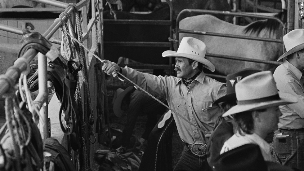"Another image of Little's mentor, Jerry, who he describes as ""a real competitor and probably could have been a professional cowboy.""  The popularity of gay rodeo surged in the late 1980s and early 90s -- but that was also the height of the AIDS epidemic. Jerry passed away in the mid-1990s."
