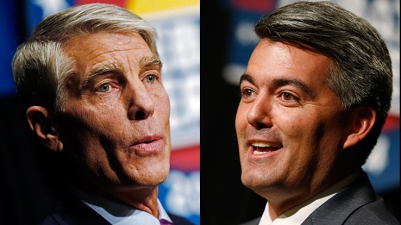 U.S. Sen. Mark Udall, D-Colo., left, Republican challenger U.S. Rep. Cory Gardner, right.