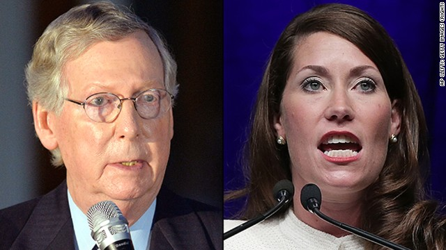 Left: McConnKentucky Sen. Mitch McConnell, and right,  U.S. Senate Democratic candidate and Kentucky Secretary of State Alison Lundergan Grimes.
