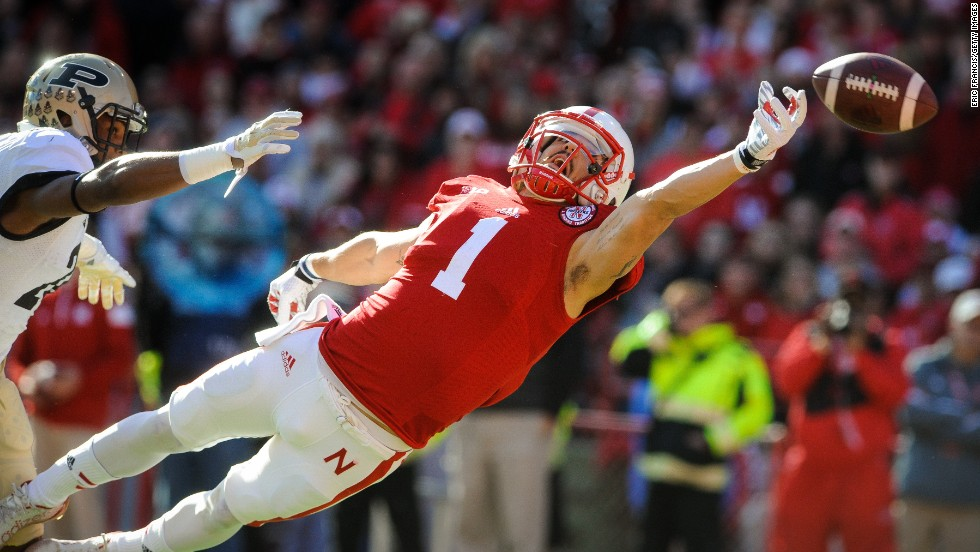 Nebraska wide receiver Jordan Westerkamp just misses a touchdown pass Saturday, November 1, in Lincoln, Nebraska. The Cornhuskers still won comfortably, however, defeating Purdue 35-14.