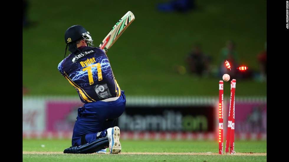 Jesse Ryder of the Otago Volts is bowled out by the Auckland Aces during a Twenty20 cricket match Saturday, November 1, in Hamilton, New Zealand.