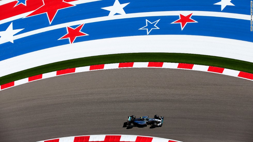 Formula One driver Nico Rosberg practices Friday, October 31, for the United States Grand Prix in Austin, Texas. Rosberg finished second in the race two days later, behind Mercedes teammate Lewis Hamilton.