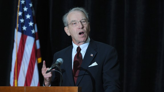 Sen. Chuck Grassley, R-Iowa, speaks at the annual Ronald Reagan Commemorative Dinner in 2013 in Des Moines.