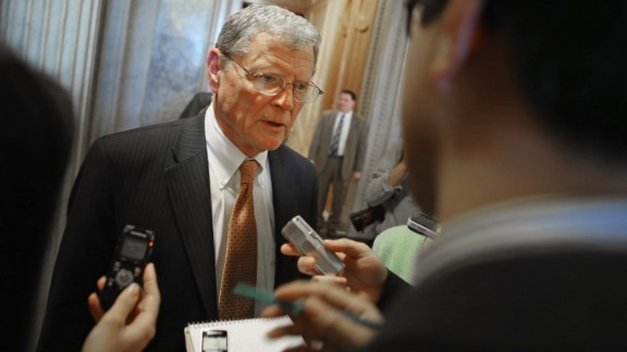 Senate Armed Service Committee ranking member Sen. James Inhofe (R-OK) talks with reporters after voting against cloture on the confirmation of former Sen. Chuck Hagel (R-NE) to be the next Secretary of State at the U.S. Capitol February 14, 2013 in Washington, DC.