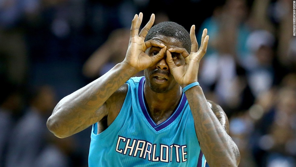 "Charlotte Hornets forward Marvin Williams puts on his ""3-point goggles"" after hitting a basket against Milwaukee on Wednesday, October 29."