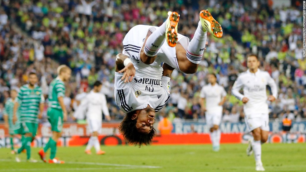 Real Madrid left back Marcelo celebrates after scoring against Cornella in a Copa Del Rey match played Wednesday, October 29, in Barcelona, Spain. Madrid, the defending European champions, strolled to a 4-1 victory.