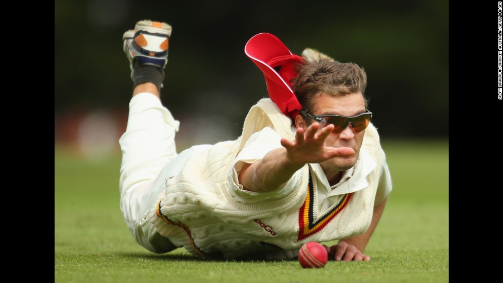 South Australia's Alex Carey tries to make a catch during a Futures League cricket match against Tasmania on Thursday, October 30, in Hobart, Australia.
