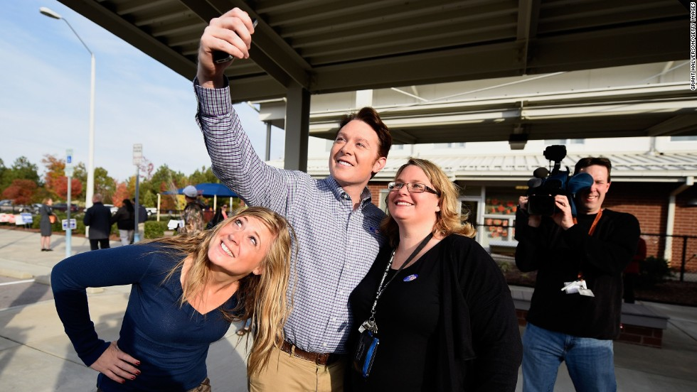 "Clay Aiken, the former ""American Idol"" star running for Congress, joins supporters for a selfie after voting in Cary, North Carolina, on Election Day. Aiken was not able to unseat incumbent Renee Ellmers."