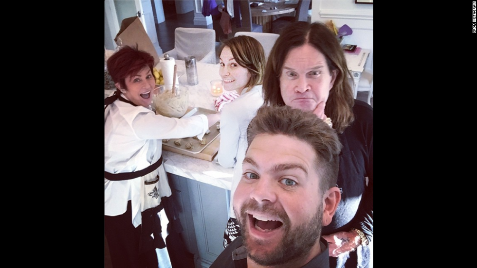 """Osbourne clan getting our savage bake on!!"" wrote television personality Jack Osbourne in this selfie <a href=""http://instagram.com/p/u69zVOObl2/?modal=true"" target=""_blank"">he posted to Instagram</a> on Sunday, November 2. Behind him are his father, rock legend Ozzy Osbourne; his mother, talk-show host Sharon Osbourne; and his wife, actress Lisa Osbourne."
