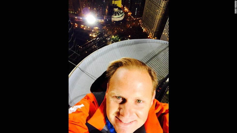 "Daredevil Nik Wallenda <a href=""https://twitter.com/NikWallenda/status/529355499691864065/photo/1"" target=""_blank"">tweeted this selfie</a> that he took just before he completed what he called his most challenging feat to date: <a href=""http://www.cnn.com/2014/11/02/travel/nik-wallenda-chicago/index.html"">a tightrope walk between two Chicago skyscrapers</a> on Sunday, November 2."