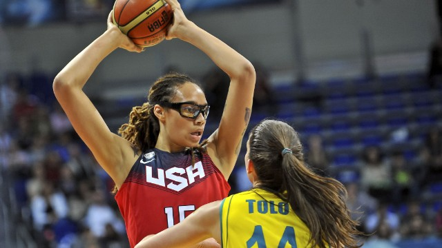 Brittney Griner takes on Australia's Marianna Tolo during a semifinal of the Women's World Championship on October 4.