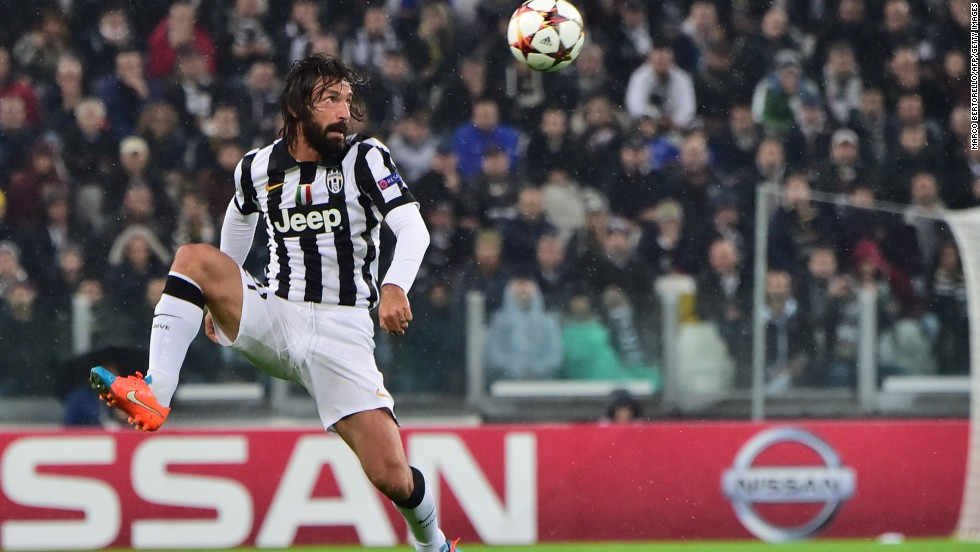 Andrea Pirlo, the magnificently bearded Juventus midfielder, marked his 100th Champions League appearance by scoring a delightful free kick in the 3-2 win over Olympiakos.