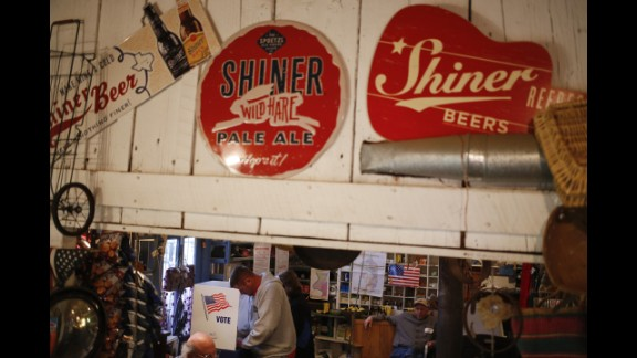 Voters cast their ballots at a polling station in the Rabbit Hash General Store in Rabbit Hash, Kentucky.