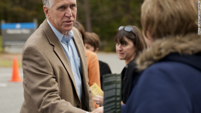 U.S. Rep. Thom Tillis (R-NC) greets supporters, volunteers and voters on November 4, 2014.