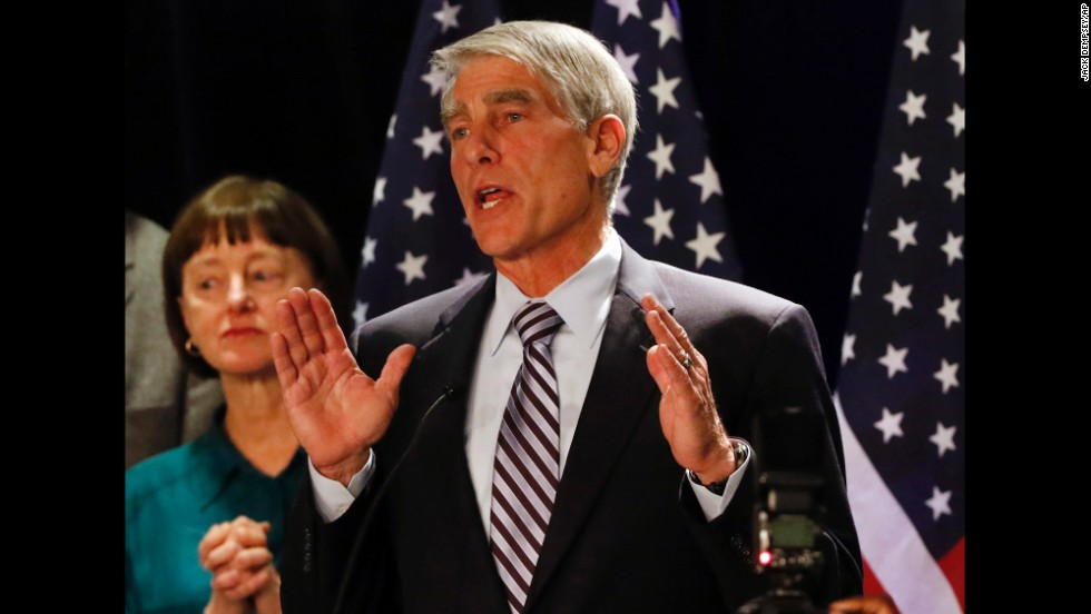 Sen. Mark Udall delivers his concession speech to Democratic supporters in Denver on November 4.