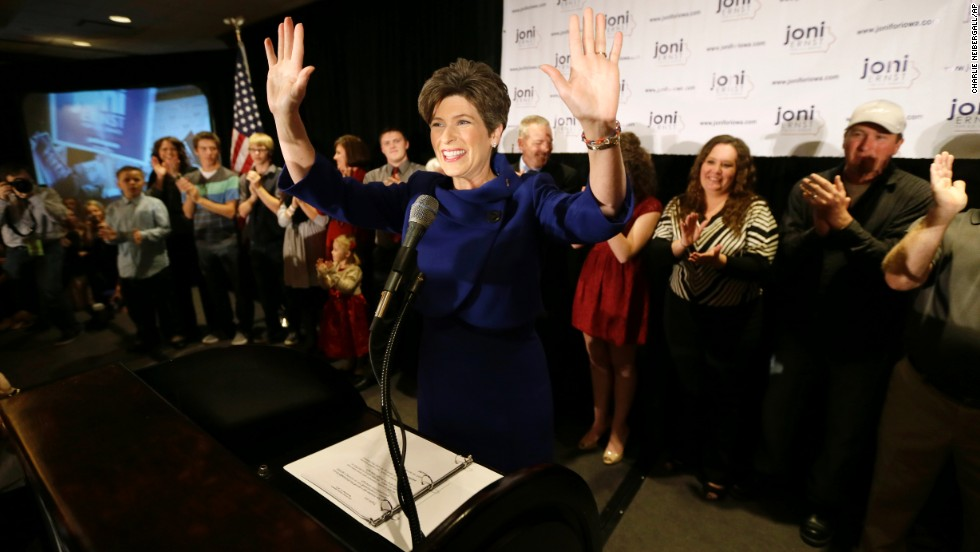 Joni Ernst speaks to supporters during an election night rally in West Des Moines, Iowa, on Tuesday, November 4. Ernst defeated Democratic U.S. Rep. Bruce Braley in the race to replace retiring U.S. Sen. Tom Harkin.