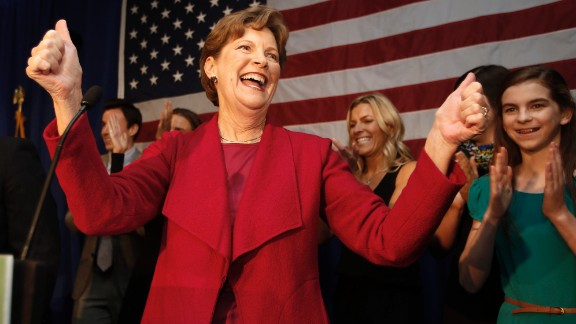Democratic Sen. Jeanne Shaheen celebrates after winning re-election on Tuesday, November 4, in Manchester, New Hampshire. Shaheen defeated Republican candidate Scott Brown.