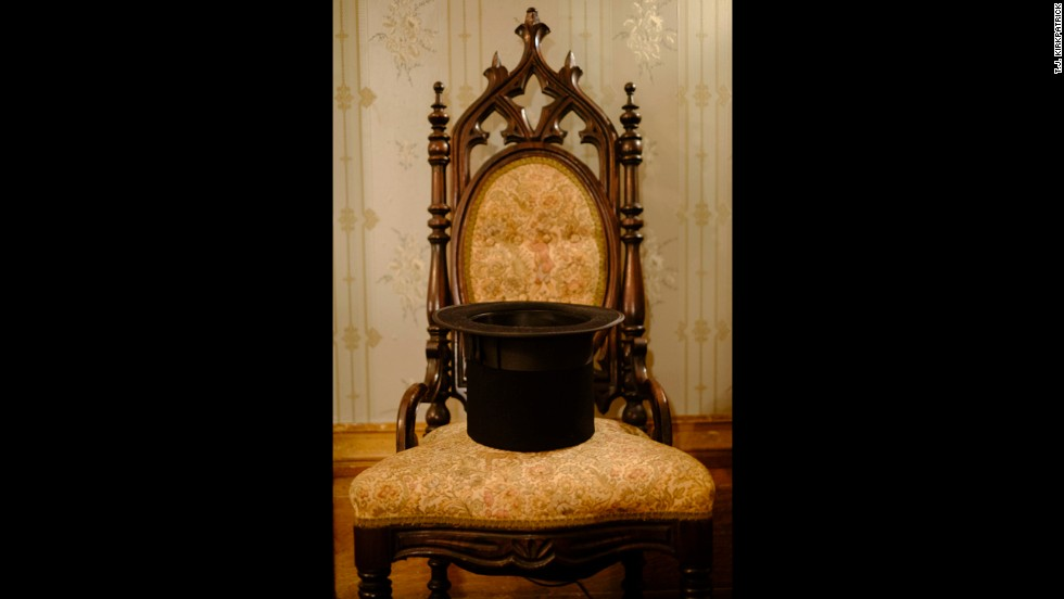 A stovepipe hat is left on a chair at the Lansdowne Plantation in Natchez, Mississippi.