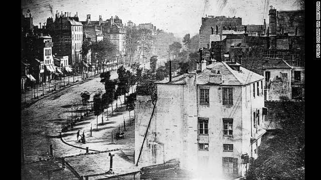 This photo of a Paris street was taken by Louis Daguerre in 1838.