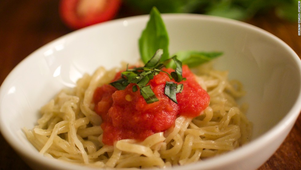 "This spaghetti dish was created using the ""Foodini"" -- a 3D printer for food."