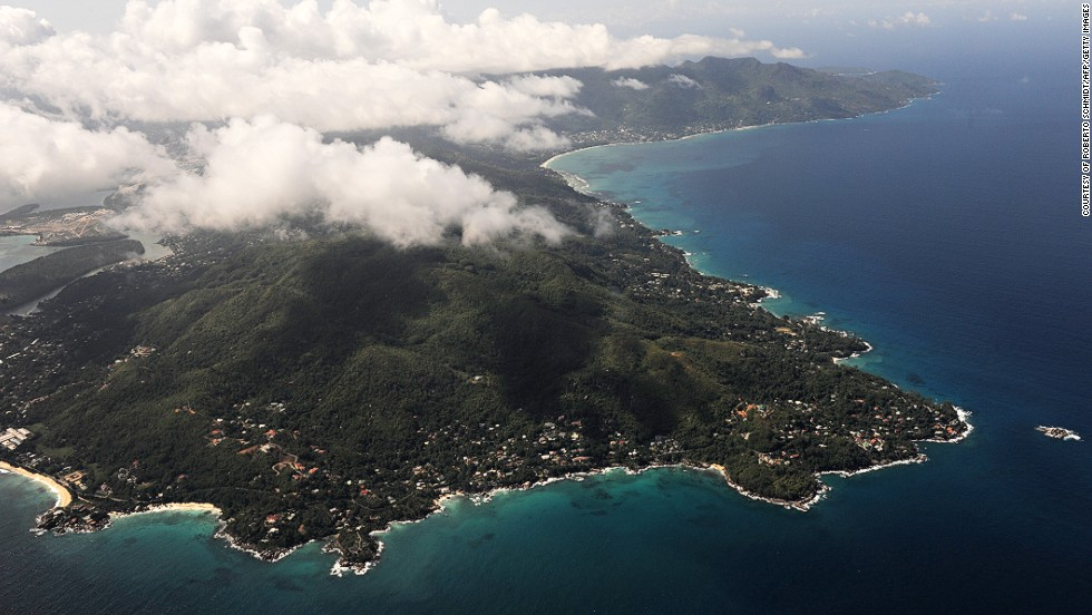 A sky view of Seychelles main island of Mahe. The island is home to the capital city of Victoria and houses nearly 90% of the country's population.
