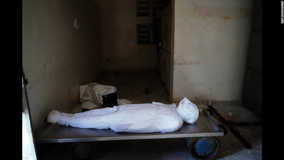 The body of a man who died of Ebola lays in the mortuary.