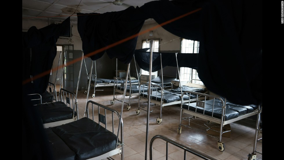 Empty beds are seen in a hospital. Many people do not want to be hospitalized because they are afraid of contracting the Ebola virus.